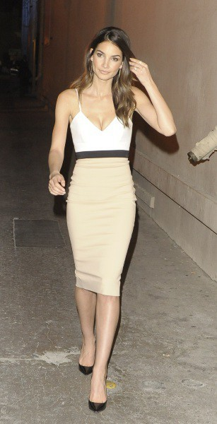 Lily Aldridge en promo à Hollywood, le 17 février 2014.