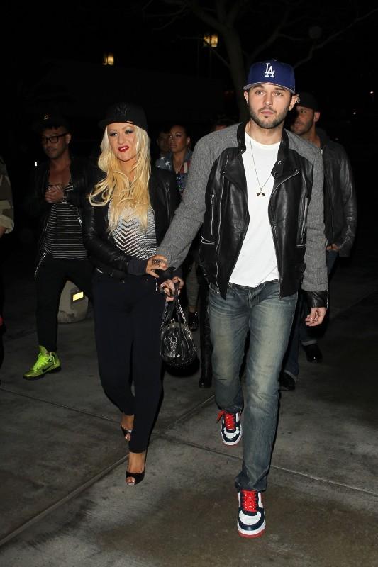 Christina Aguilera et Matt Rutler se rendant au concert de Rihanna à Los Angeles, le 8 avril 2013.