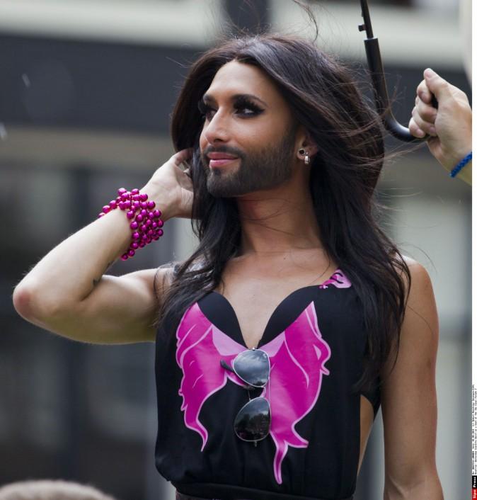 Conchita Wurst à la Gay Pride d'Amsterdam, le 2 août