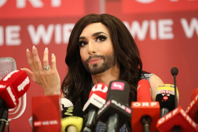 Conchita Wurst en conférence de presse à Vienne le 11 mai 2014