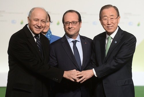 Laurent fabius, François Hollande, Ban ki-Moon