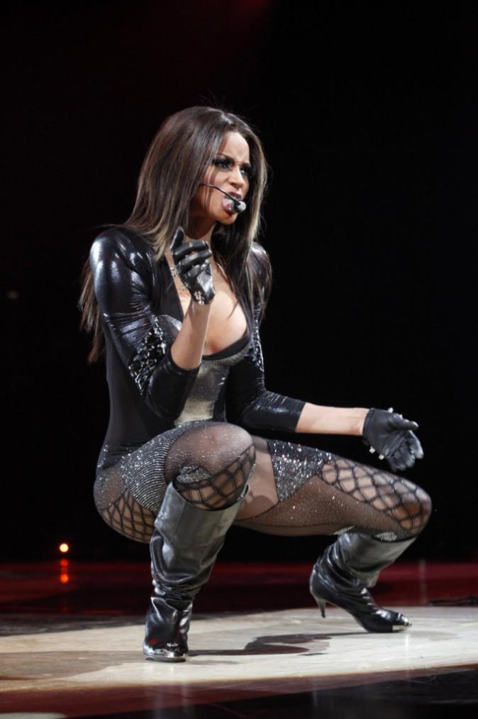 Ciara, sur scène lors de la première partie du Circus Tour, à Londres, le 3 juin 2009.