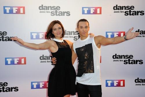Nathalie Péchalat et Grégoire Lyonnet lors du Photocall DALS 5 à Paris le 10 septembre 2014
