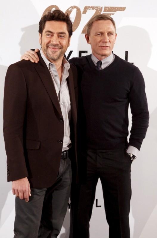 Daniel Craig et Javier Bardem le 29 octobre 2012 à Madrid