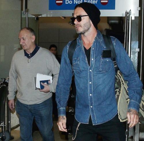 Photos : David Beckham : arrivée détente à L.A. avec son père pour ses 40 ans !