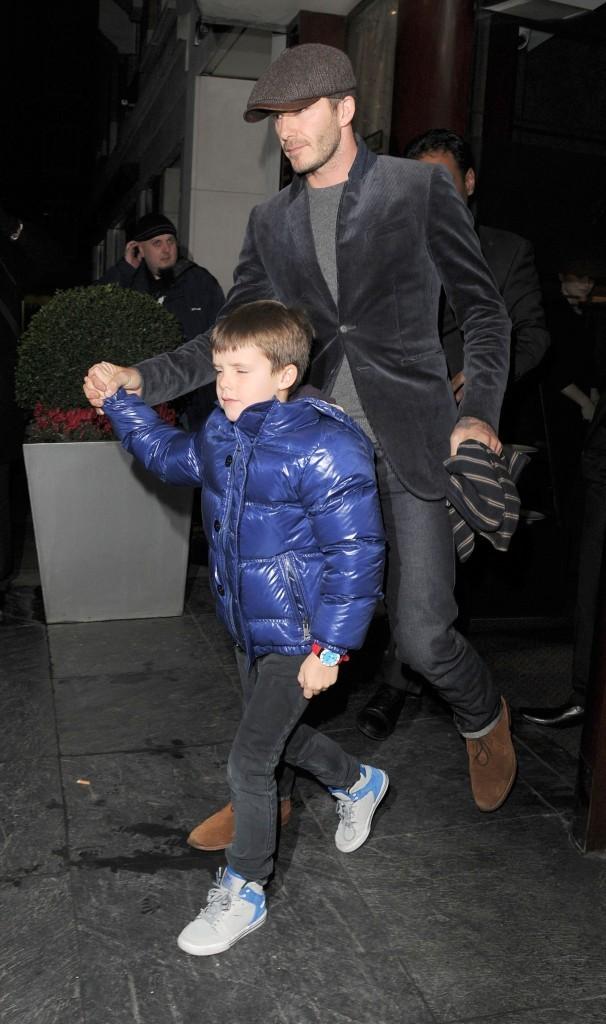 David Beckham et ses fils, Londres, 8 février 2013.