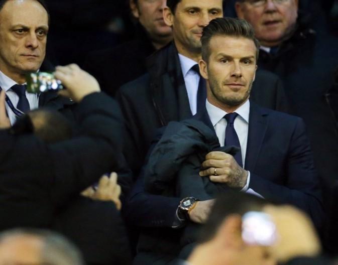 David Beckham dans les tribunes du stade Mestalla de Valence le 12 février 2013