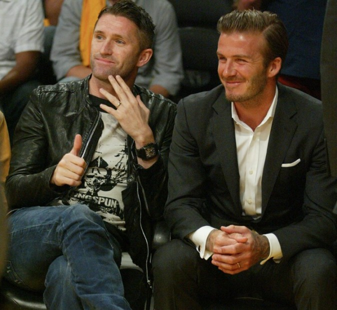 David Beckham et Adam Levine au Staples Center de Los Angeles le 30 octobre 2012