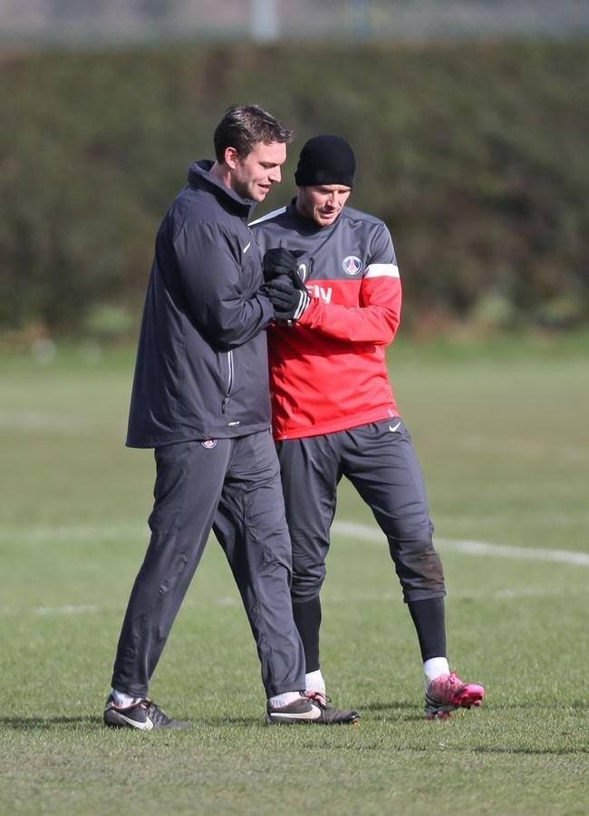 David Beckham en plein entraînement à Londres le 7 février 2013
