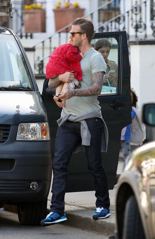 David Beckham et Harper Seven le 29 avril 2013 à Londres