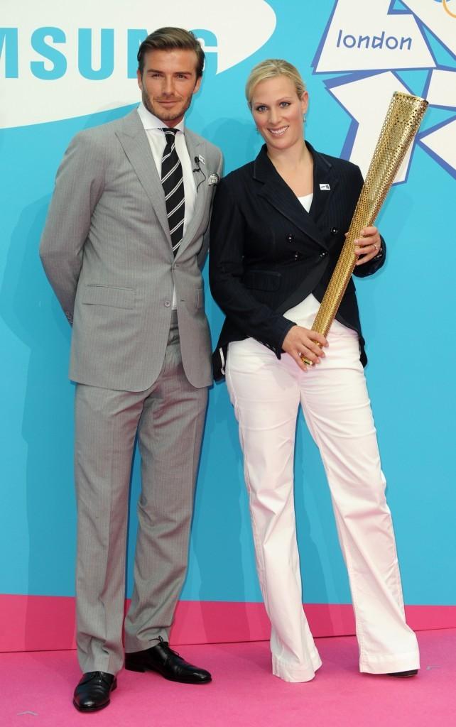 David Beckham et Zara Phillips lors de la conférence de presse pour les J.O de Londres 2012, le 13 juin 2011 à Londres.