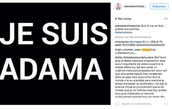 L'actrice Adèle Exarchopoulos apporte son soutien via les réseaux sociaux