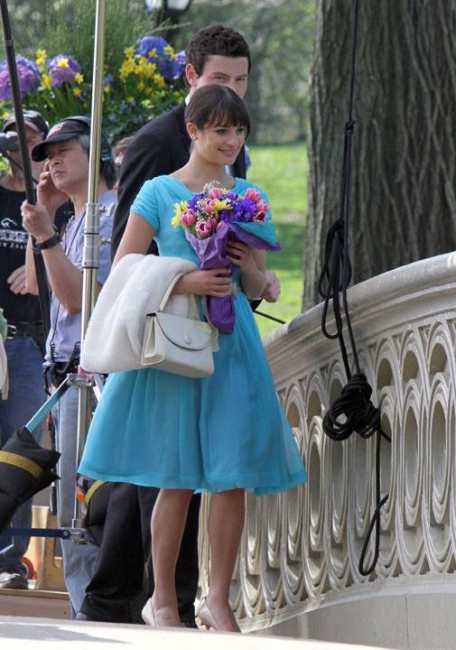 Cory et Lea sur le tournage de Glee