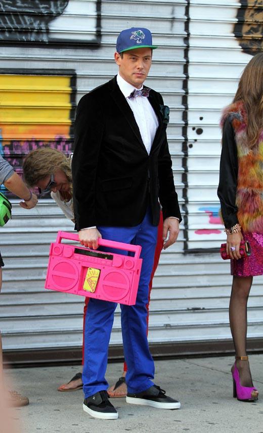 Cory Monteith sur le tournage de Glee