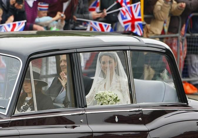 Kate Middleton arrive à l'Abbaye de Westminster à Londres, le 29 avril 2011.