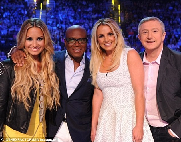 Demi Lovato, L.A. Reid, Britney Spears et Louis Walsh lors des auditions du X-Factor US à Kansas City, le 8 juin 2012.