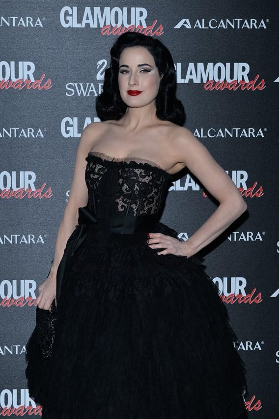 Dita Von Teese à la soirée des Glamour Awards organisée le 11 décembre 2014 à Milan