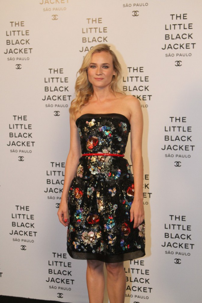 "Diane Kruger lors de l'exposition ""Chanel's Little Black Jacket"" à Sao Paulo, le 29 octobre 2013."