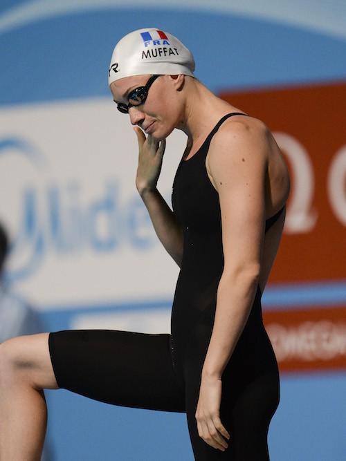 Camille Muffat avant une sourse à Barcelone en 2012