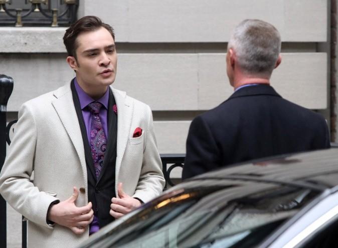 Ed Westwick sur le tournage de Gossip Girl le 2 octobre 2012 à New-York