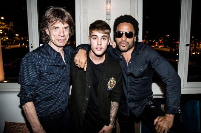 Mick Jagger, Justin Bieber et Lenny Kravitz à l'Arc Paris, le 2 octobre 2014.
