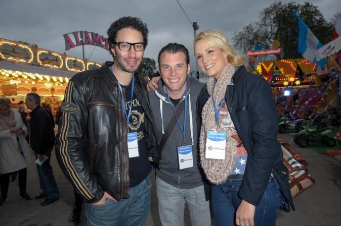 Elodie Gossuin avec Manu Lévy et Norbert de Top Chef à l'ouverture de la Foire du Trône le 4 avril 2014