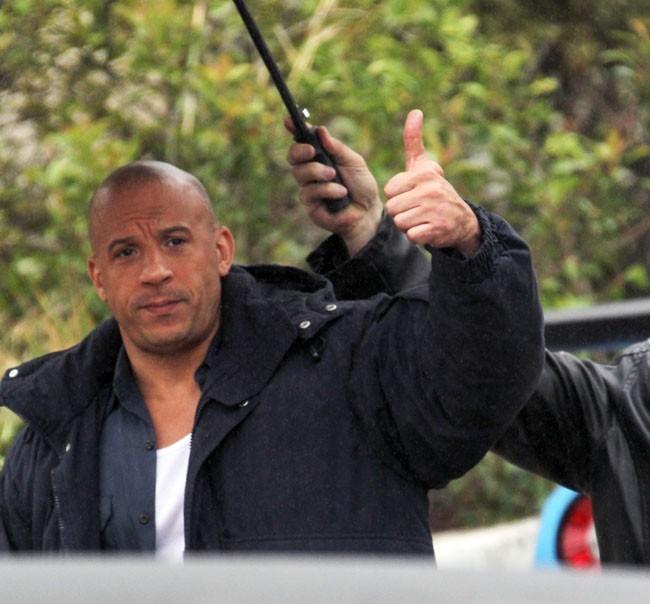 Vin Diesel sur le tournage de Fast and Furious 6 à Los Angeles le 2 décembre 2012