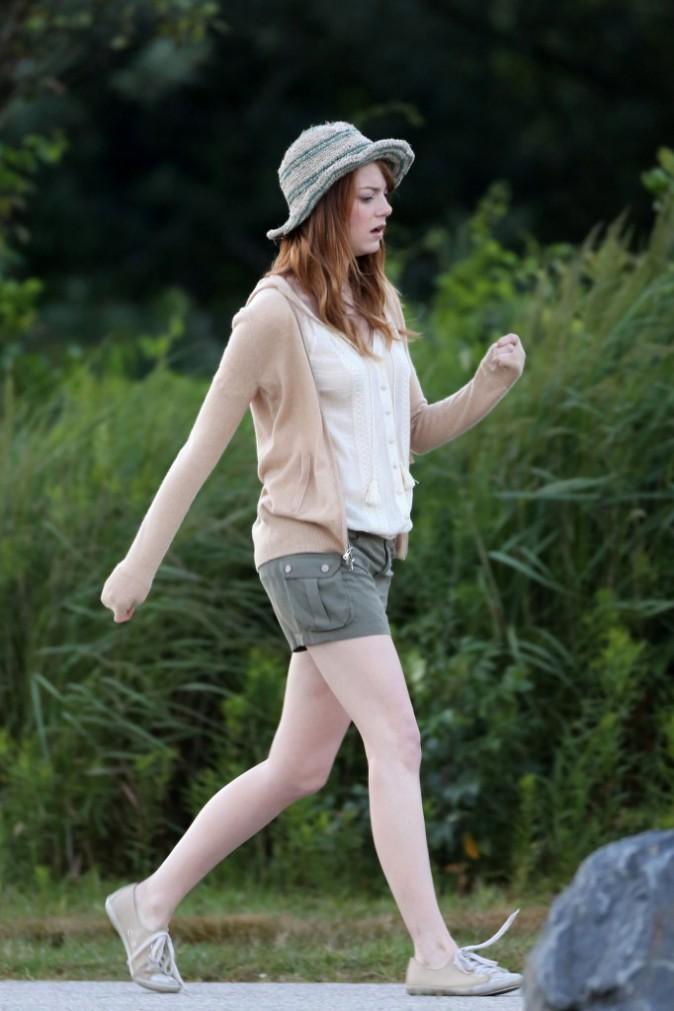 Emma Stone et Joaquim Phoenix le 28 juillet sur le tournage du prochain film de Woody Allen