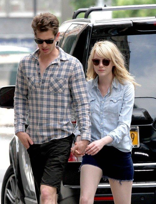 spiderman, emma stone, andrew garfield, sourire, couple, photos