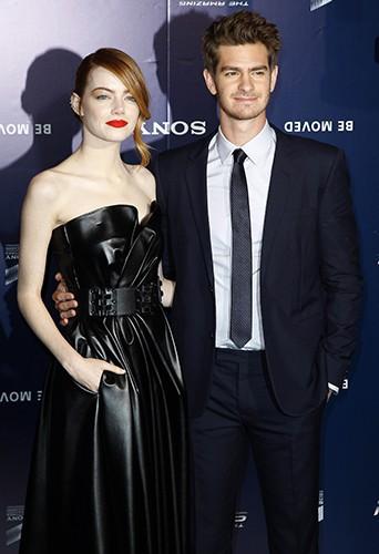 Emma Stone et Andrew Garfield à Paris le 11 avril 2014