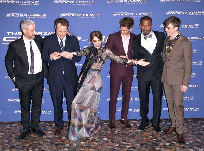 Marc Webb, Emma Stone, Andrew Garfield, Jamie Foxx et Dane DeHaan à Rome le 14 avril 2014