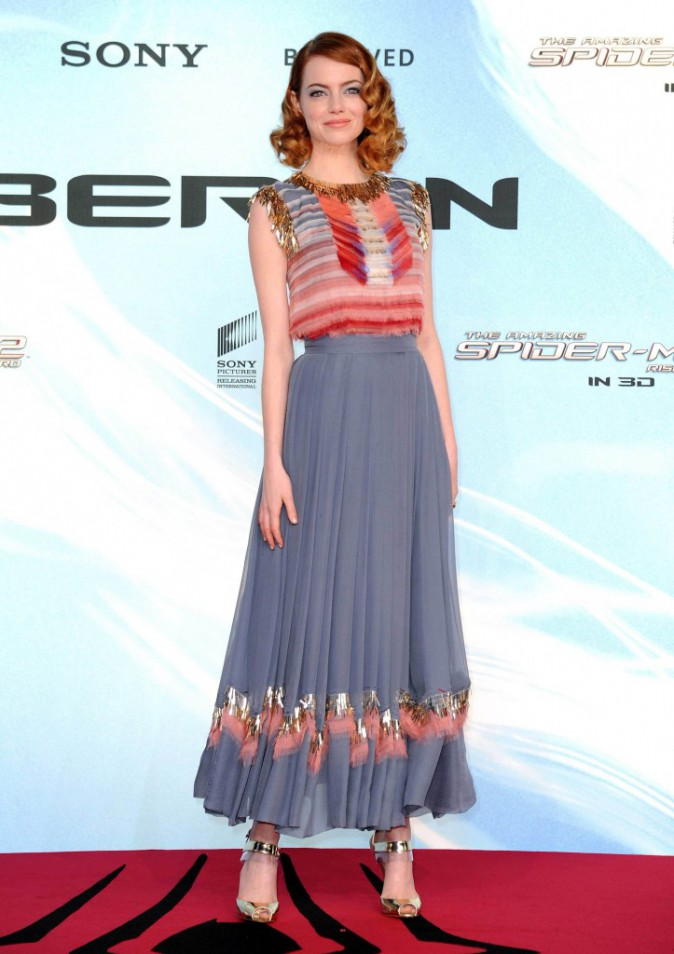 """Emma Stone lors de la première de """"The Amazing Spider-Man : le destin d'un Héros"""" à Berlin, le 15 avril 2014."""