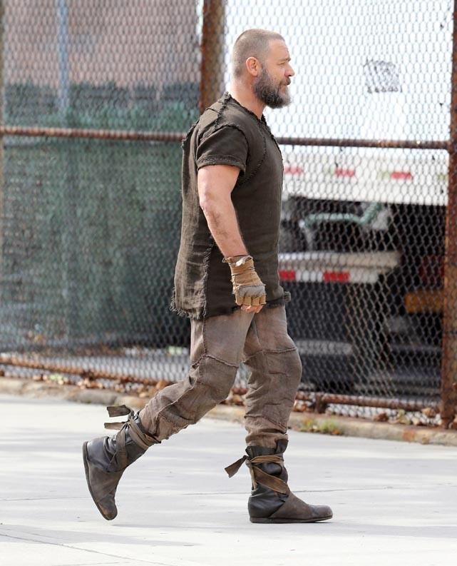 Russell Crowe sur le tournage du film Noah à New-York le 17 octobre 2012