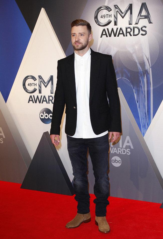 Justin Timberlake à la cérémonie des CMA Awards le 4 novembre 2015