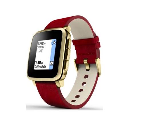 Une montre connectée avec bracelet en cuir