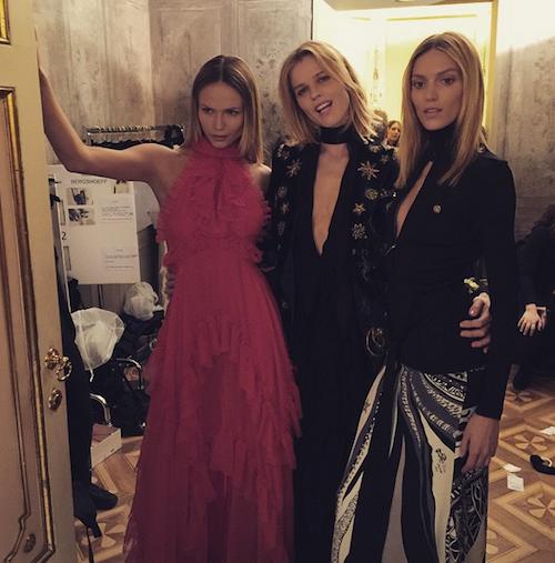 Natasha Poly, Eva Herzigova et Anja Rubik au défilé Emilio Pucci, le 28 février 2015