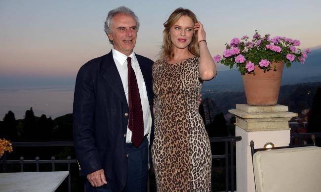 Eva Herzigova et Marco Risi lors du Taormina Film Festival en Sicile, le 18 juin 2013.