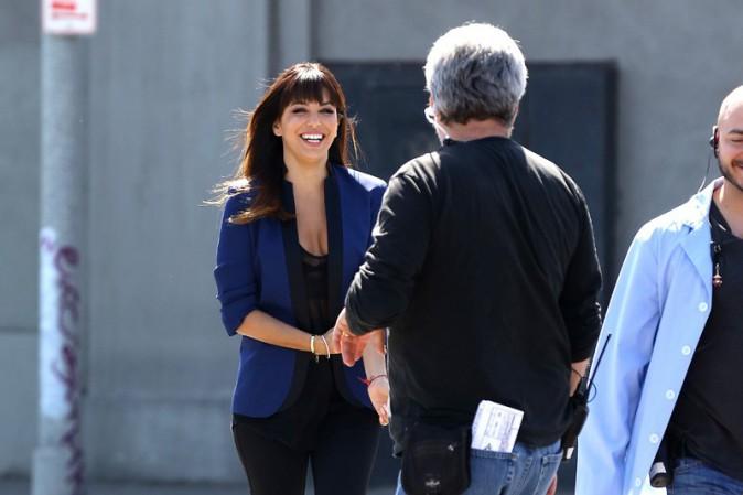 """Eva Longoria sur le tournage du film """"Visions"""" à Los Angeles le 12 mars 2014"""