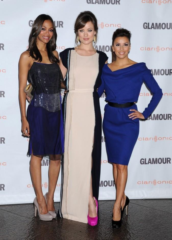 Eva Longoria, Zoe Saldana et Olivia Wilde lors de la soirée Glamour Reel Moments à Hollywood, le 24 octobre 2011.