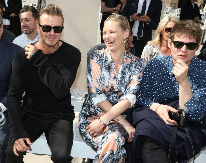 David Beckham, Kate Moss et son boyfriend au défilé Louis Vuitton à Paris ce jeudi 23 juin 2016
