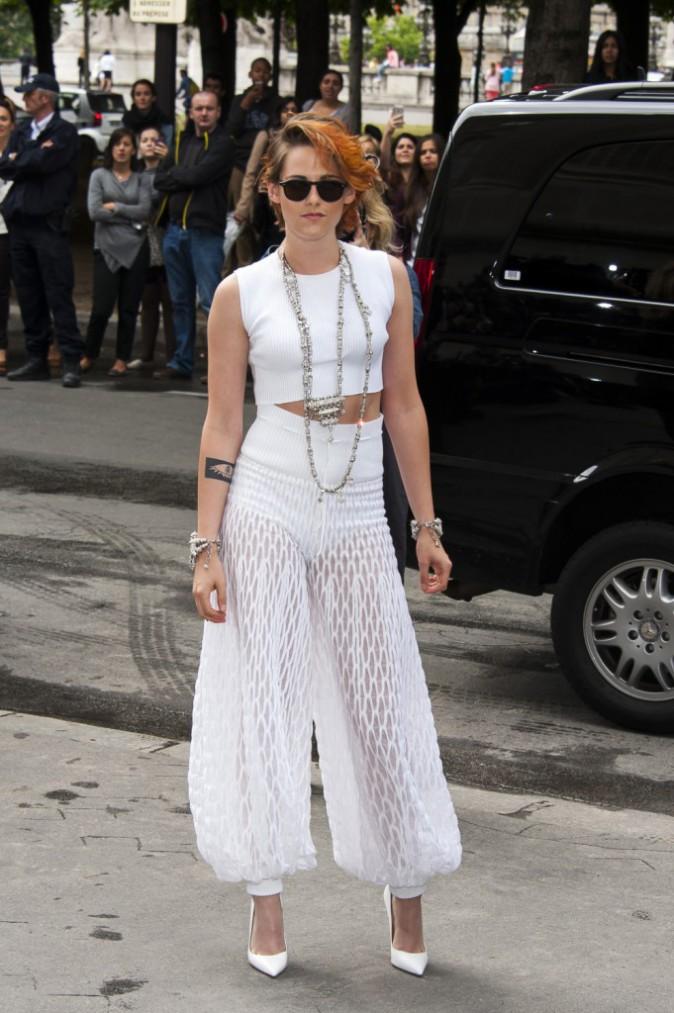 Kristen Stewart au défilé Chanel, le mardi 8 juillet 2014.