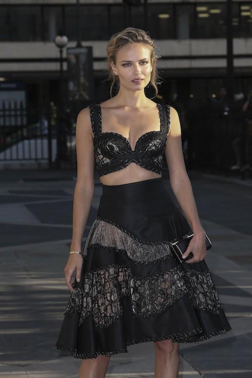 Natasha Poly au défilé Haute Couture automne-hiver 2015-2016 Versace, à Paris le 5 juillet 2015