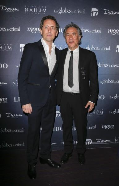 Gad Elmaleh et Richard Berry lors de la soirée des Globes de Cristal à Paris ,e l 10 mars 2014.