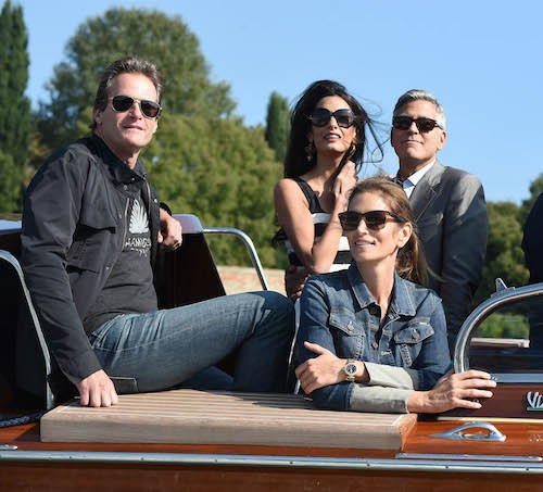George Clooney et Amal Alamuddin avec Cindy Crawford et son mari, Rande Gerber, à leur arrivée à Venise pour leur mariage, le 26 septembre 2014 !