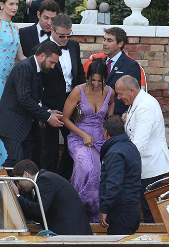 Matt Damon et sa femme Luciana à Venise le 27 septembre 2014
