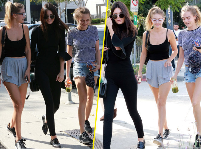 Gigi Hadid, Kendall Jenner et Cara Delevingne à Los Angeles le 25 octobre 2015