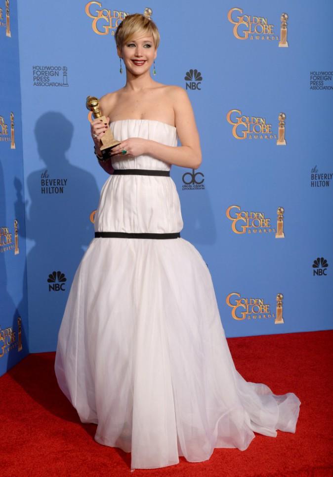 Jennifer Lawrence lors de la cérémonie des Golden Globes à Beverly Hills, le 12 janvier 2014.