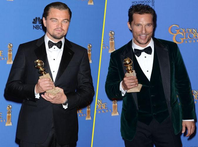 Leonardo DiCaprio et Matthew McConaughey lors de la cérémonie des Golden Globes à Beverly Hills, le 12 janvier 2014.