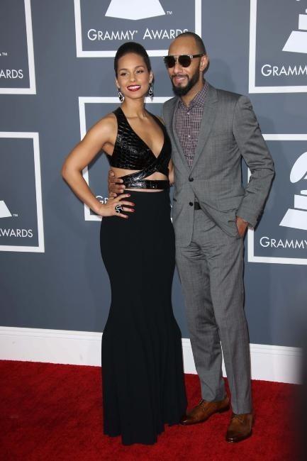 Alicia Keys et son mari Swizz Beatz lors de la 55e cérémonie des Grammy Awards à Los Angeles, le 10 février 2013.