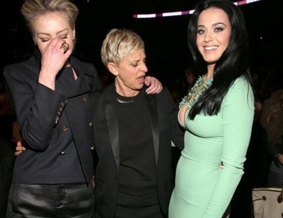 Portia de Rossi, Ellen de Generes et Katy Perry. Quelle drôle de tête !